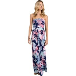 Pink Long Dress Strapless Sleeveless Floral Print Backless Women's Maxi Dresses
