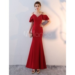 Evening Dresses Satin Off The Shoulder Mermaid Prom Dress Long Ruffles Straps Burgundy Formal Dress found on MODAPINS from Milanoo.com Ltd for USD $134.99