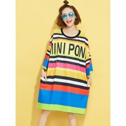 Plus Size Dresses Striped 3/4-Length Sleeve Multi-color Oversized Short T-shirt Dress