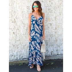 Women's Long Dress V Neck Sleeveless Deep Blue Floral Print Cut Out Backless Maxi Dresses