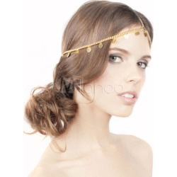 Gold Headband Fringe Chain Metal Hair Accessories found on Bargain Bro India from Milanoo.com Ltd for $2.99
