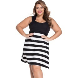 Plus Size Dresses Stripes Sleeveless Women's Sweet Slip Dresses