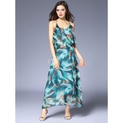 Green Long Dress Sleeveless Straps Chiffon Floral Print Backless Maxi Dresses For Women