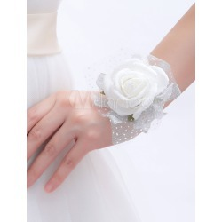 White Synthetic Free-Form Shape Wrist Corsage for Wedding found on Bargain Bro Philippines from Milanoo.com Ltd for $5.99