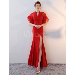 Red Evening Dresses Sexy High Split Formal Dress V Neck Short Sleeve Satin Occasion Dress found on MODAPINS from Milanoo.com Ltd for USD $144.99