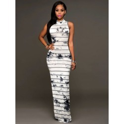 White Maxi Dress High Collar Sleeveless Striped Tie Dye Backless Women's Long Dresses