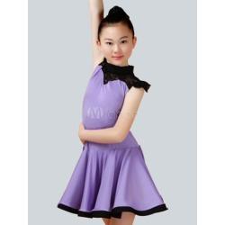 Latin Dance Costume Kids Lilac Sleeveless Ballroom Dance Dresses For Girls