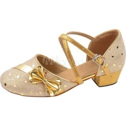Gold Latin Dance Shoes Chunky Heel Round Toe Bows Ballroom Shoes For Kids