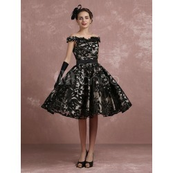 Black Prom Dresses 2018 Short Off The Shoulder Prom Dress Vintage Cocktail Dresses Lace Sweetheart Pleated A Line Knee Length Party Dress Milanoo