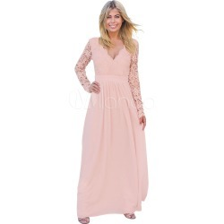 Pink Maxi Dresses Long Sleeve V Neck Lace Backless Floor Length Women's Party Dress