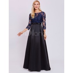 Evening Dresses Dark Navy Lace Satin Long Sleeve Illusion Bow Sash Floor Length Formal Dress found on MODAPINS from Milanoo.com Ltd for USD $89.99