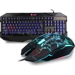 40fa724d671 Keyboard Mouse Combo Avago 3050 Chip Print Gaming Mouse With Backlit  Mechanical Keyboard Wired
