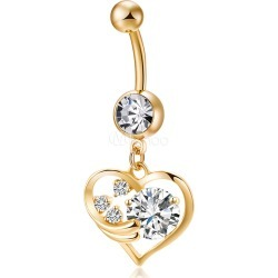 Belly Button Piercing Jewelry Gold Tone Hollow Rhinestone Heart Shaped Pendent Belly Button Rings