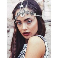 Boho Head Band Ethnic Embossed Women Vintage Silver Hair Accessory found on Bargain Bro India from Milanoo.com Ltd for $2.99