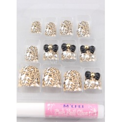 Multi Color Bow Leopard Print 12-Piece Resin Fashion Acrylic Nails And Tips