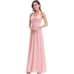 Pink Prom Dress Chiffon Halter Formal Dress V Neck Back Cross Lace Floor Length Party Dress found on MODAPINS from Milanoo.com Ltd for USD $149.99