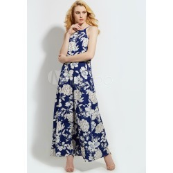 Blue Maxi Dress Sleeveless Floral Print Backless Spaghetti Straps Women's Long Dresses