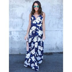Women's Long Dress Deep Blue Sleeveless Floral Print Backless Maxi Dresses