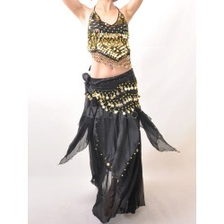 Outfit Belly Dance Costume Glitter Black Sequined Chiffon Bollywood Dance Set For Women