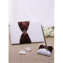 Chocolate Bows Wedding Books and Pens