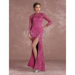 Lace Evening Dress Magenta High Split Mother's Dress Long Sleeve Backless Illusion Floor Length Formal Dress found on MODAPINS from Milanoo.com Ltd for USD $129.99