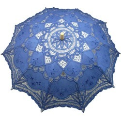 Mysterious Blue Wood Lace Wedding Umbrella