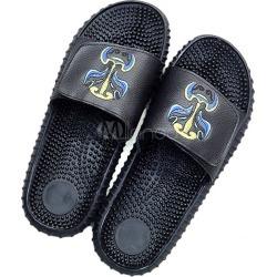 Black Slider Sandals Men's Open Toe Soft Sole PU Flat Sandal Shoes