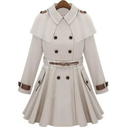 Ivory Trench Coat Women's Turndown Collar Long Sleeve Pleated Slim Fit Cape Wool Dress Coat found on MODAPINS from Milanoo.com Ltd for $105.85