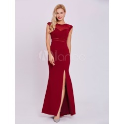 Burgundy Evening Dresses Sexy High Split Illusion Sleeveless Keyhole Floor Length Formal Dresses found on MODAPINS from Milanoo.com Ltd for USD $99.99