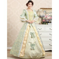 Royal Retro Costume Women's Victorian Ball Gown Jacquard Floral Green Ruffle Bows Tiered Vintage Princess Costume Halloween