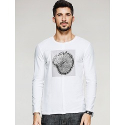 White T Shirts Round Neck Long Sleeve Printed Slim Fit Men's T Shirt