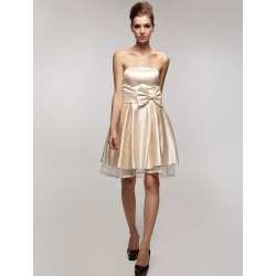 Gold Champagne Bridesmaid Dress Strapless Sash Bows Satin Dress found on MODAPINS from Milanoo.com Ltd for USD $76.99