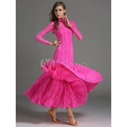 Ballroom Dance Dress Rose Lace Mermaid Long Sleeve Ballroom Dancing Costume found on Bargain Bro Philippines from Milanoo.com Ltd for $110.99