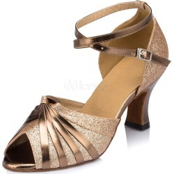Gold Dance Shoes Peep Women's Twisted Ankle Strap High Heel Ballrooms Shoes