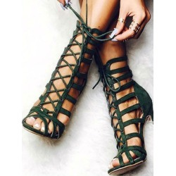 Olive Gladiator Sandals Women's Peep Toe Cut Out Strappy Sandals
