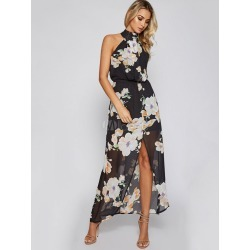 Black Long Dress High Collar Sleeveless Floral Print Backless Split Women's Maxi Dresses