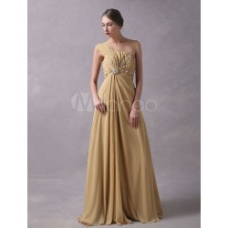 Prom Dresses Long Chiffon One Shoulder Light Gold Beaded Floor Length Formal Dresses found on MODAPINS from Milanoo.com Ltd for USD $164.99