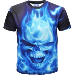 T Shirt For Men Skull 3D Print Short Sleeve T Shirt Royal Blue Tee Top