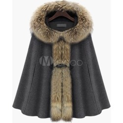 Women Coat Faux Fur Hoodie Poncho Oversized Winter Coats