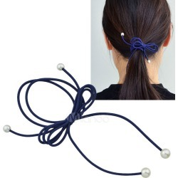 Dark Navy Hair Tie Pearls Bow Hair Band For Women found on Bargain Bro India from Milanoo.com Ltd for $0.99