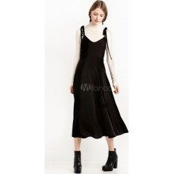 Black Maxi Dress Sleeveless Spaghetti Backless Women's Long Dresses