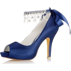 Wedding Guest Shoes Deep Blue Mother Shoes Peep Toe Pearls Ankle Strap...