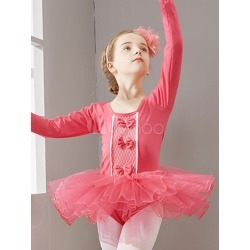 Ballet Dance Costumes Ocean Blue Long Sleeve Bow Slim Fit Tutu Dresses For Kids found on Bargain Bro Philippines from Milanoo.com Ltd for $36.99