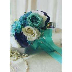 Wedding Flower Bouquet Blue Ribbon Hand-tied Silk Flower Bridal Bouquet found on Bargain Bro India from Milanoo.com Ltd for $34.99