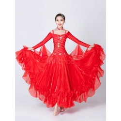 Ballroom Dance Dress Red Tulle Ruffles Off The Shoulder Long Sleeve Ballroom Dancing Costume found on Bargain Bro India from Milanoo.com Ltd for $147.99