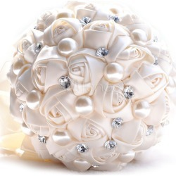 Wedding Flower Bouquet Ivory Satin Pearls Rhinestone Beaded Bridal Bouquet found on Bargain Bro Philippines from Milanoo.com Ltd for $29.99