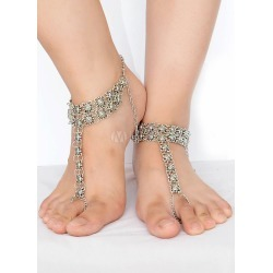 Bohemian Wedding Shoes Silver Anklets