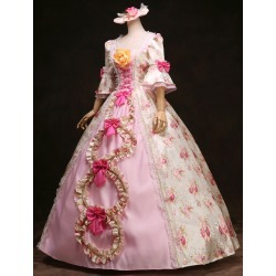 Royal Retro Costume Women's Rococo Ball Gown Pink Floral Ruffle Bows Vintage Princess Costume Halloween