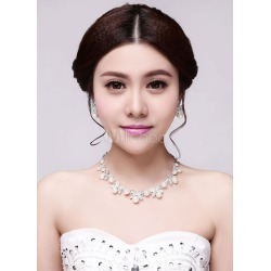 Diamond Jewelry Sets Bow Embeded Pearls Sterling Evening Jewelry Sets