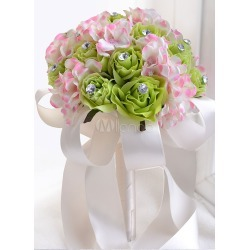 Wedding Flowers Bouquet Rhinestones Beaded Hand Tied Ribbons Round Shaped Green Silk Flower Bridal Bouquet found on Bargain Bro Philippines from Milanoo.com Ltd for $19.99